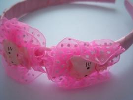 Brede diadeem hello kitty licht roze.