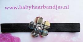 Smalle zwarte baby haarband met geruite bloem.