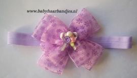Nieuw smalle paarse babyhaarband met strikken.