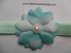 Smalle groene baby haarband met bloem.