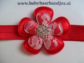 Smalle rode baby haarband met grote bloem en strass.