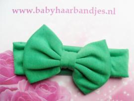 Super zachte baby haarband met grote strik groen