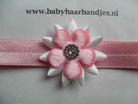 Voor de allerkleinste roze haarbandje met punt bloem.