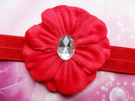 Smalle  rode baby haarband met  bloem.