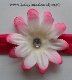 Smalle fuchsia baby haarband met bloem.
