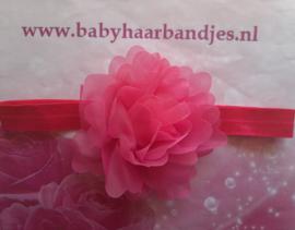 Smalle fuchsia baby haarband met tule bloem.