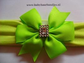 Groene baby haarband met strik.