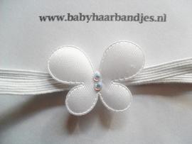 Voor de allerkleinste super smal wit haarbandje met vlindertje.