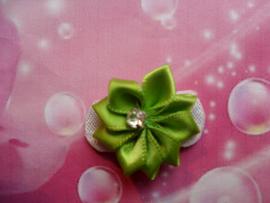 Baby haar knipje groen bloemetje.
