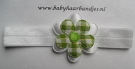 Voor de allerkleinste wit haarbandje met groen bloemetje.