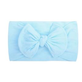 Super zachte lichtblauwe nylon baby haarband met strikje.