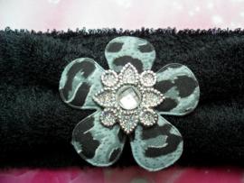 Super zachte zwarte baby haarband met print bloem.