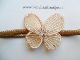 Super smal bruin/zilver baby haarbandje met gouden vlindertje.