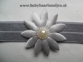 Voor de allerkleinste grijs haarbandje met bloem.