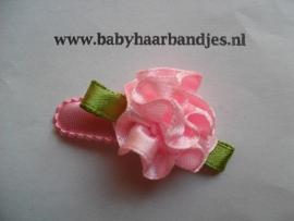 3 cm baby haar knipje roze toefje.
