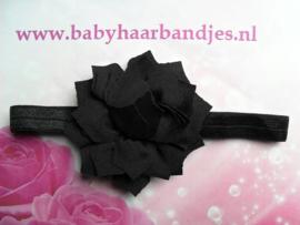 Smalle zwarte baby haarband met punt bloem.