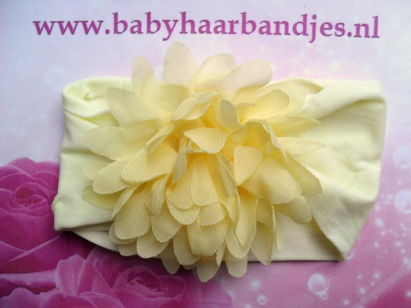 Brede zacht gele nylon baby haarband metgele chiffon toef.