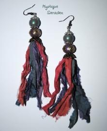 boho gipsy oorbellen sari silk fairtrade