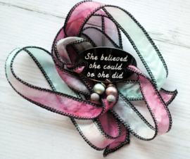 Boho zijden wikkelarmband SHE BELIEVED SHE COULD SO SHE DID
