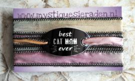 Boho zijden wikkelarmband BEST CAT MOM EVER
