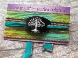 Boho zijden wikkelarmband TREE OF LIFE