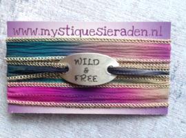 Boho zijden wikkelarmband Wild & FREE