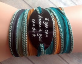 Boho zijden wikkelarmband IF YOU CAN DREAM IT YOU CAN DO IT