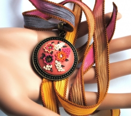 BOHO silk ribbon necklace FLOWERS bohemian, uniek kado,gipsy