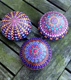 Decoratiesteen, Meditatie Steen, Mandala steen, Kunst Steen, Dot Art, Huisdecoratie, Yoga, Spiritueel Kado, Mandala #19