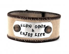 Handgemaakte  suede armband