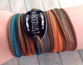 Wanderlust Bracelet, Hippie Wrap Bracelet, Silk Wrap Bracelet, Silky Bracelet, Ibiza , Boho, Yoga, Free Spirit, Gift for Her, Spirit #208
