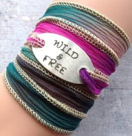 Wikkelarmband crinkle zijde  armband gegraveerd, WILD & FREE,  spiritual gift #204