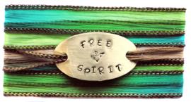 Boho zijden wikkelarmband FREE SPIRIT