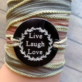 Boho zijden wikkelarmband LIVE, LAUGH, LOVE
