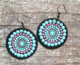 Mandala Earrings, Mandala Painting, Dot Mandala,Meditation, Aboriginal Art, Hand Painted Mandala, Mandala Style, Boho Mandala, Ibiza, #5
