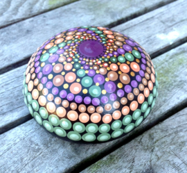 Decoratiesteen, Meditatie Steen, Mandala steen, Kunst Steen, Dot Art, Huisdecoratie, Yoga, Spiritueel Kado, Mandala #7