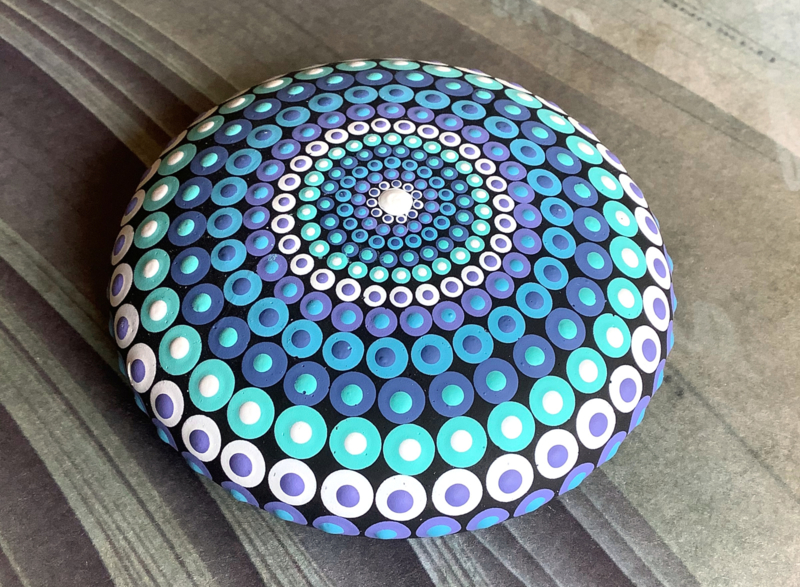 Dot art mandala blauw/wit