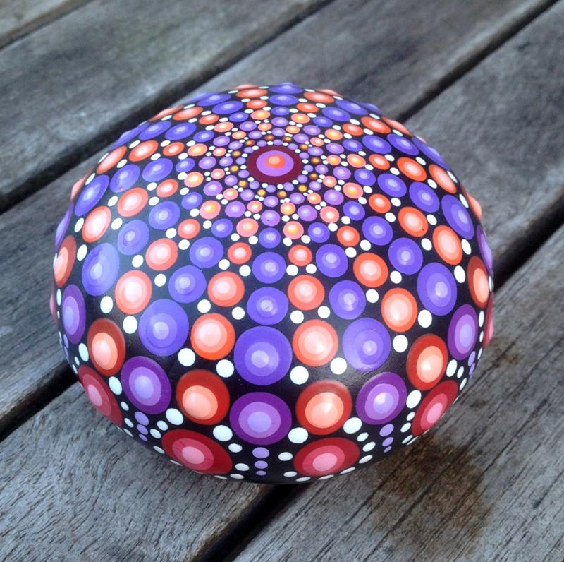 Decoratiesteen, Meditatie Steen, Mandala steen, Kunst Steen, Dot Art, Huisdecoratie, Yoga, Spiritueel Kado, Mandala #15