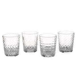 Water - sap - whisky glas met stippen - per 1 Stuk.