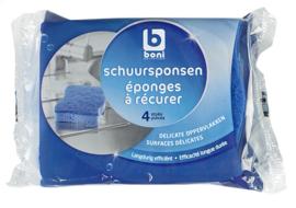 BONI SELECTION  blauwe schuursponsen  -  4 stuks