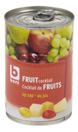 BONI SELECTION  fruitcocktail op sap in blik   -  412 gr net