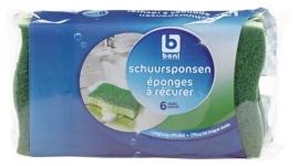 BONI SELECTION  schuurspons groen  - 6 stuks.