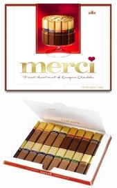 MERCI , Fijne chocolaatjes, Finest selection, assortiment, assorted chocolates - 8 smaken, 200 gr net