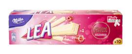 Milka lea wafel met witte chocolade en framboos  - 10 pack