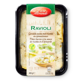 CASA MORANDO ®  Ravioli gevulde pasta, ravioli met ricotta en spinaziesaus  -  400 gr netto.