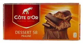 COTE D'OR  chocolade Dessert 58, praliné, noisette  -  200 gr.