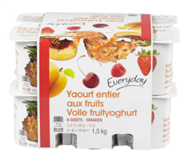EVERYDAY  volle fruityoghurt -  12 x 125 gr.