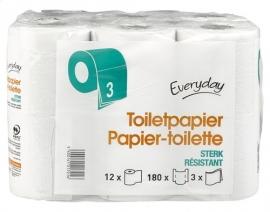 EVERYDAY  toiletpapier 3 lagen, 180 vellen - 12 rollen