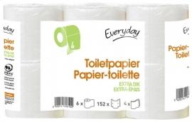 EVERYDAY  toiletpapier 4-lagig, 152 vellen -  6 rollen.