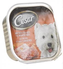 CESAR met kalfsvlees-worteltjes, hondenvoer in alu-schaaltje - 300 gr  !